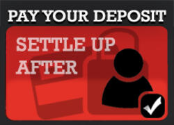 Pay deposit, settle up after